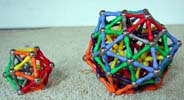 Two icosahedra made of Mags construction toys
