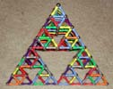 Plan view of a Sierpinski Tetrahedron (Serpinski triangle or Sierpinski triangle) built of Magz magnetic construction toys