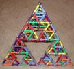 Another plan view of a Sierpinski Tetrahedron (Serpinski triangle or Sierpinski triangle) built of Magz magnetic construction toys