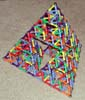 Oblique view of a Sierpinski Tetrahedron (Serpinski triangle or Sierpinski triangle) built of Magz magnetic construction toys
