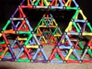 Through view of a Sierpinski Tetrahedron (Serpinski triangle or Sierpinski triangle) built of Magz magnetic construction toys