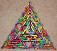 Top view (Peak view) of a Sierpinski Tetrahedron (Serpinski triangle or Sierpinski triangle) built of Magz magnetic construction toys