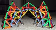 Back view of three pointed arches built of Mags construction toys