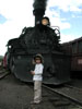 Son and steam locomotive