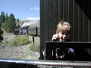Son and locomotive turning left